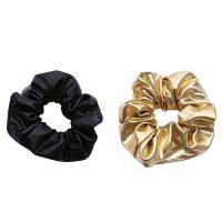 Gouden en zwart leren scrunchies